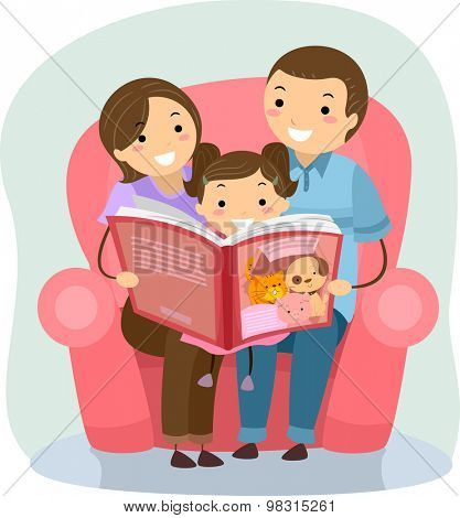 Stickman Illustration of a Family Reading a Book Together