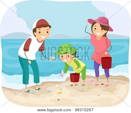 Stickman Illustration of a Family Picking Shells at the Beach