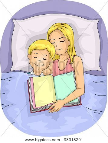 Illustration of a Mother Who Fell Asleep After Reading a Book to Her Son