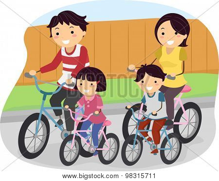 Stickman Illustration of a Family Going for a Ride on Their Bikes