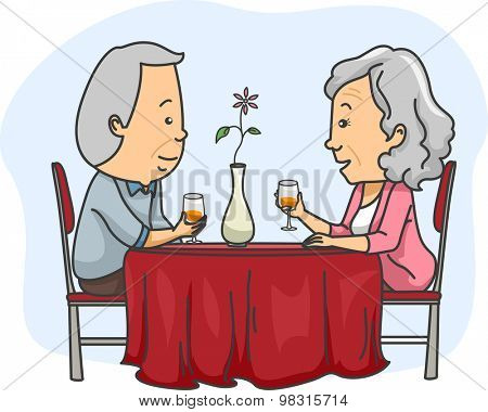Illustration of an Elderly Couple Out on a Romantic Date