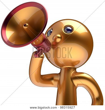 Bullhorn Man Promotion Speaking Megaphone Character Icon