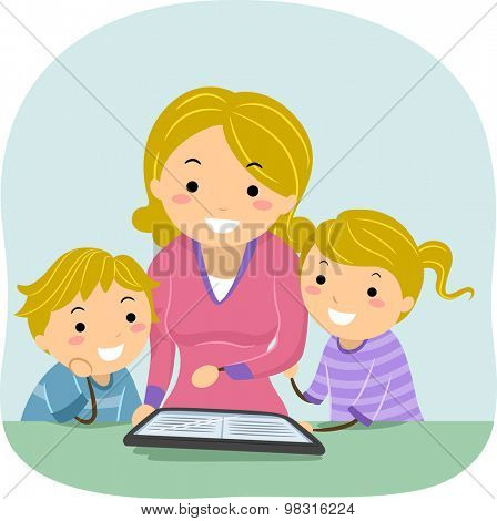 Stickman Illustration of a Mother Reading an E-book to Her Kids