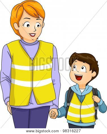 Illustration of a Mother Taking Her Kid on a Walking Bus Trip