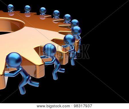 Teamwork Partnership Gearwheel Cogwheel Business Process