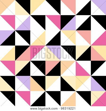 Seamless Geometric Pattern With Colored Triangular Elements