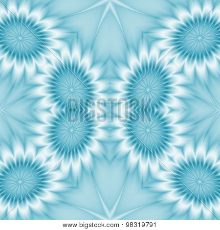 Kaleidoscopic Abstract Floral Background. Seamless Pattern In Blue