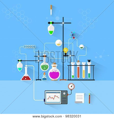 Modern vector illustration icons set of science.Laboratory workspace and workplace concept. Chemistr