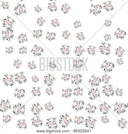 Seamless Cartoon Cows Pattern With Drop Shadow On White