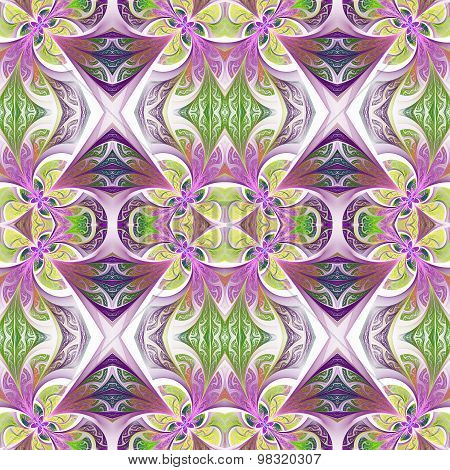 Symmetrical Flower Pattern In Stained-glass Window Style. Green And Purple Palette.