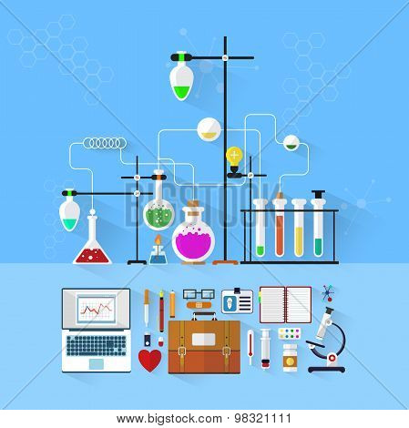 Laboratory workspace and workplace concept.Chemistry, physics, biology.Flat design.