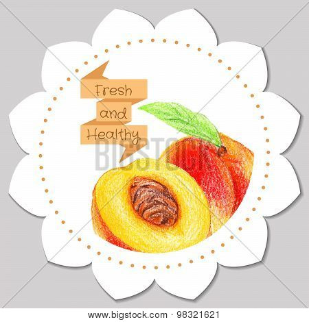 Sticker template. Healthy and fresh peach.