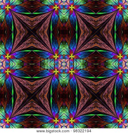 Symmetrical Multicolored Flower Pattern In Stained-glass Window Style On Purple.