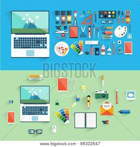 Designer workspace with tools and devices in modern flat style.