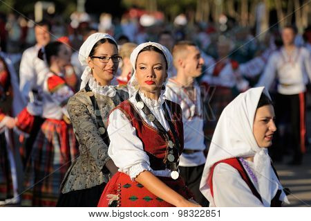 Orel, Russia, August 4, 2015: Orlovskaya Mozaika Folk Festival, Women In Traditional Serbian Suits I