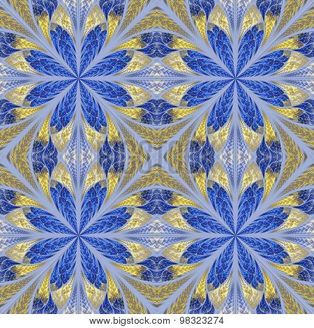 Symmetrical Pattern In Stained-glass Window Style. Blue And Beige Palette.