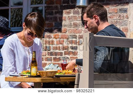 Tourists Couple Enjoy Their Meal