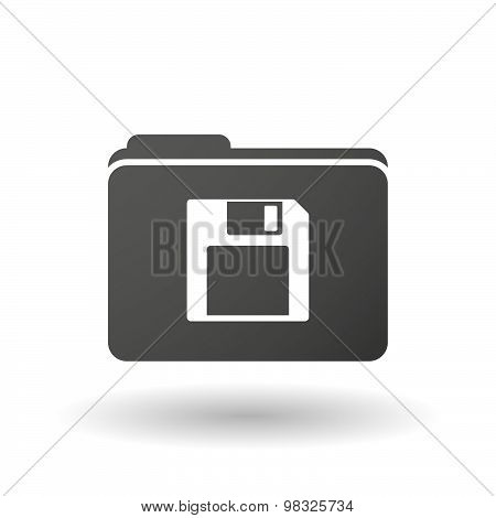 Isolated Folder Icon With A Floppy Disk