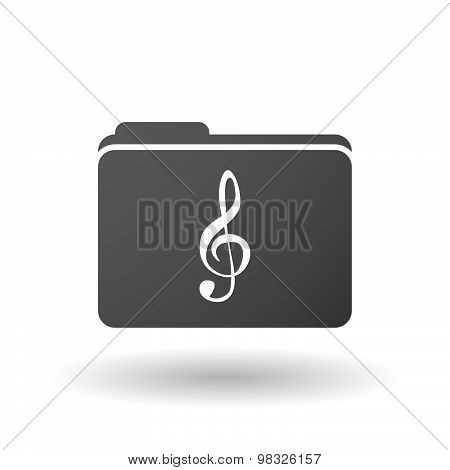 Isolated Folder Icon With A G Clef