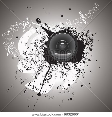 Grunge Background with Audio Speaker