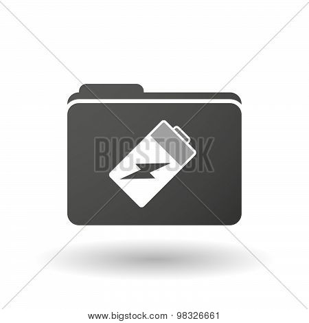 Isolated Folder Icon With A Battery
