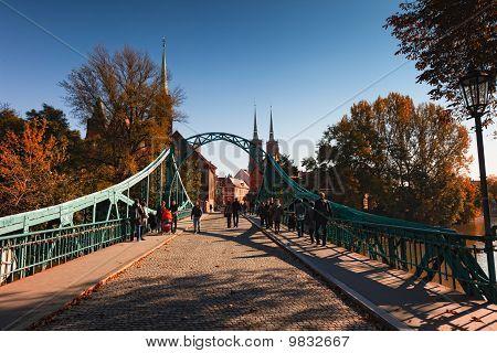 Tumsky Bridge In Wroclaw, Poland