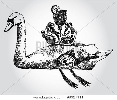 Illustration with Men on a Swan