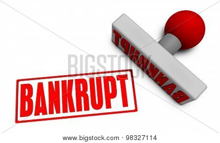 Bankrupt Stamp or Chop on Paper Concept in 3d
