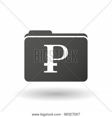 Isolated Folder Icon With A Ruble Sign