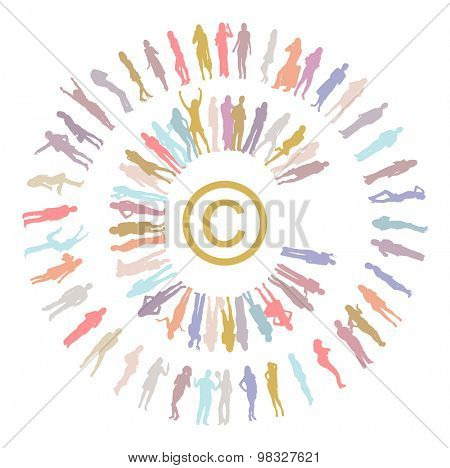 Copyright made of Vector Silhouettes Many People