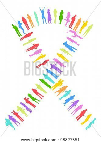 Ribbon made of Vector Silhouettes Many People