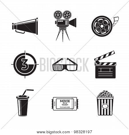 Cinema, movie icons set with -  projector, film strip, 3D glasses, clapboard, popcorn in a striped t