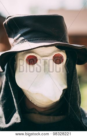 Plague doctor - participant of festival of medieval culture