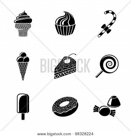Sweet icons set with - cupcake, donut, cake, ice creams, christmas candy, lollipop, candies. Vector