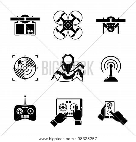 Set of drone icons - with box, top view, surveillance drone, navigation, map, controllers, tablet an