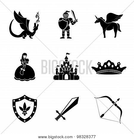 Set of monochrome fairytale, game icons with - sword, bow, shield, knight, dragon, princess, crown,