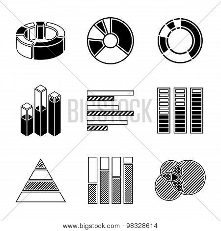 Set of monochrome infographic elements - pie charts, graphics, rates, diagrams etc. Vector