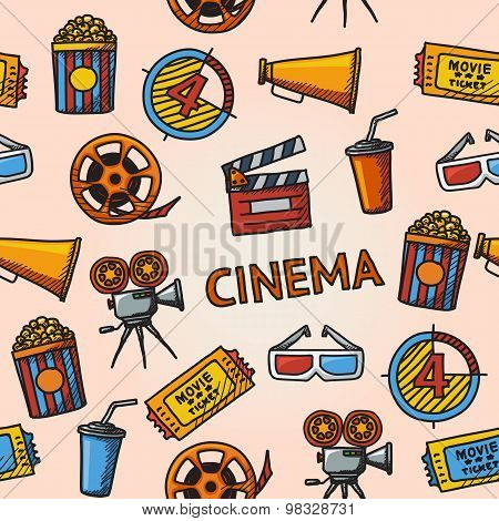 Seamless cinema handdrawn pattern.
