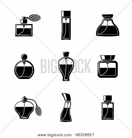 Perfume icons set with different shapes of bottles. vector