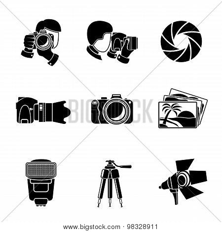 Photographer monochrome icons set with - shutter, camera, photos, shooting photographers, flash, tri