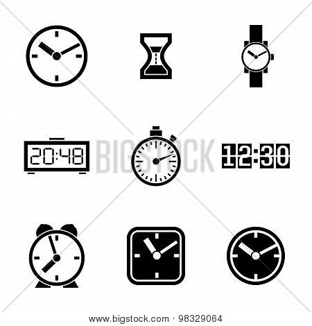 Set of vector icons - time, clocks, watches.