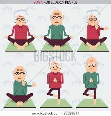 Elderly People Yoga Lifestlye.vector Symbols