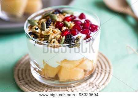 Granola With Greek Yogurt And Cantaloupe