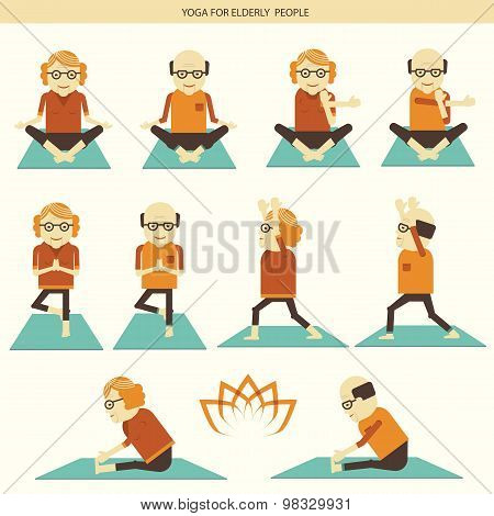 Old People Yoga.vector Icons Isolated