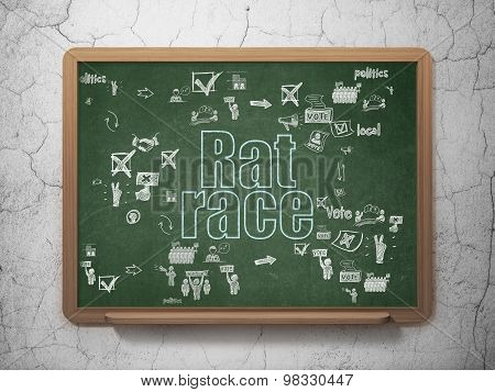 Politics concept: Rat Race on School Board background