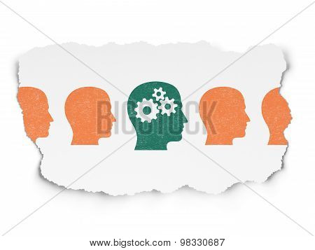 Studying concept: head with gears icon on Torn Paper background