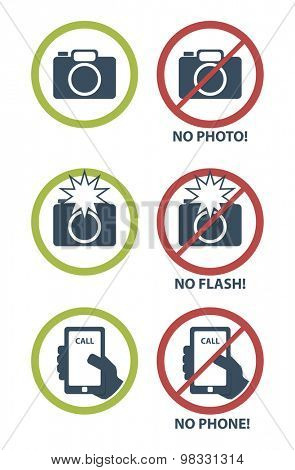 Vector set of prohibition icons, no camera, no flash, no phone