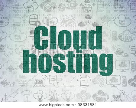 Cloud technology concept: Cloud Hosting on Digital Paper