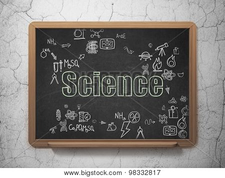 Science concept: Science on School Board background