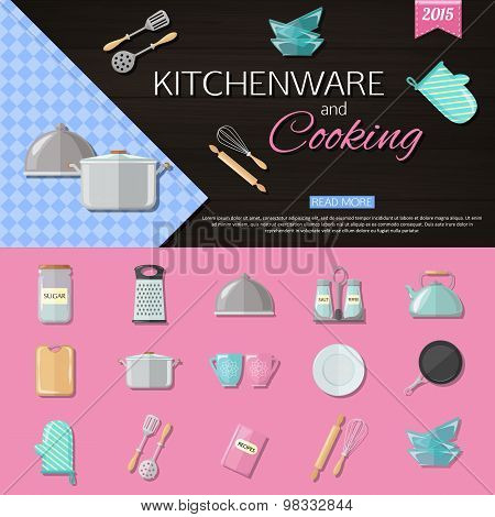Kitchenware and cooking background with set of utensils and cooking icons. Flat style design.